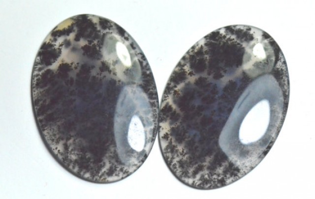 DENDRITIC AGATE AAA Pair 40mm 58ct oval