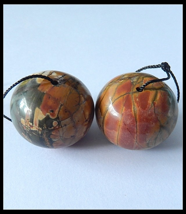167.2Ct Natural Multi Color Picasso Jasper Earring Beads  (18091180)