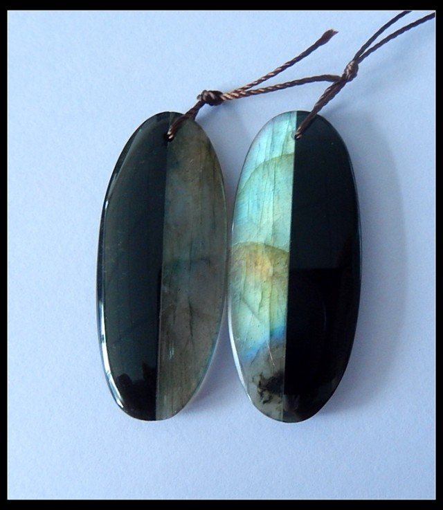 46Ct Natural Obsidian,Labradorite Gemstone Intarsia Earring Beads (18091188