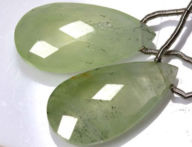 19 CTS PREHNITE FACETED BEADS DRILLED PAIR NP-1889