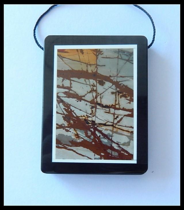 124.5Ct Natural Multi Color Picasso Jasper,Black Jasper Intarsia Pendant Be