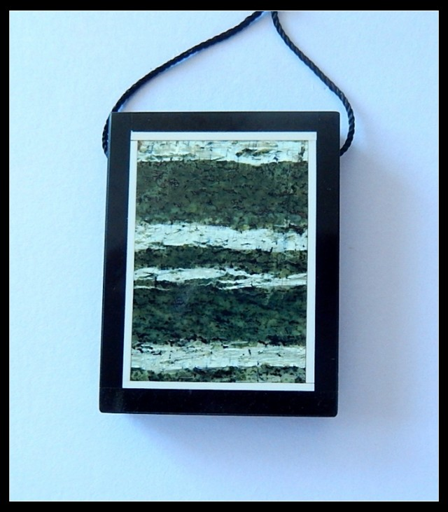 83.5 Ct Natural Green Zebra Jasper,Black Jasper Intarsia Pendant Bead(B1804