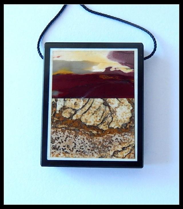 62.5Ct Natural Mookaite Jasper,Picture Jasper,Black Jasper Intarsia Pendant