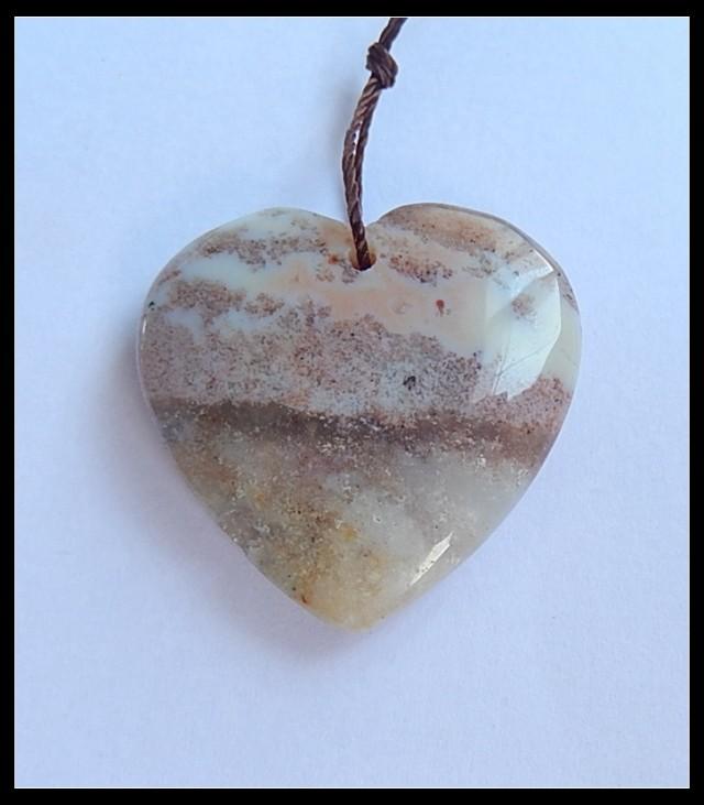 P0190 - 30.5Ct Natural Ocean Jasper Heart Pendant Bead,Natural Gemstone Pen