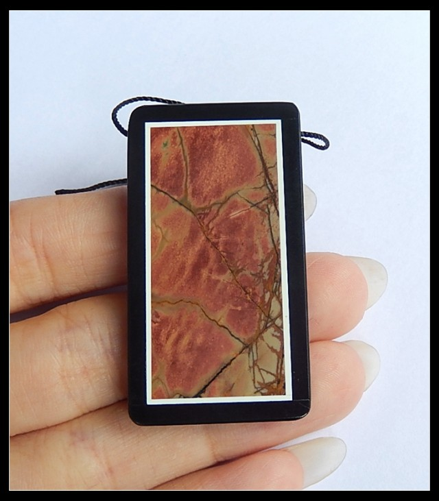 80Ct Natural Multi Color Picasso Jasper,Black Jasper Intarsia Pendant Bead(
