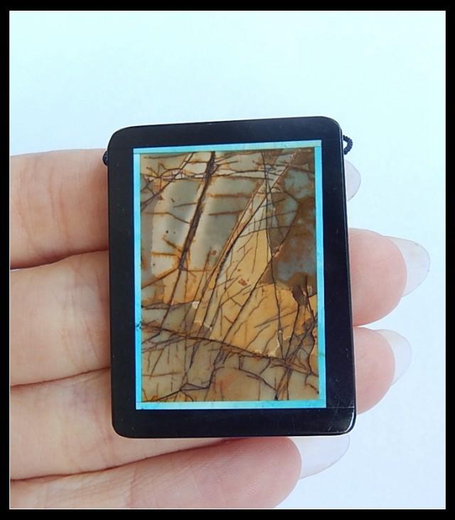 87.5Ct Natural Multi Color Picasso Jasper,Black Jasper Intarsia Pendant Bea