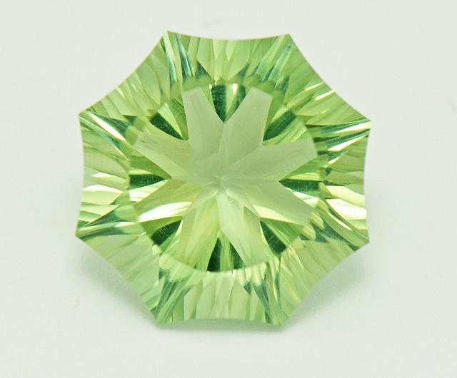 Custom Cut Prasiolite Green Amethyst 'Aspen' cut gemstone 10ct
