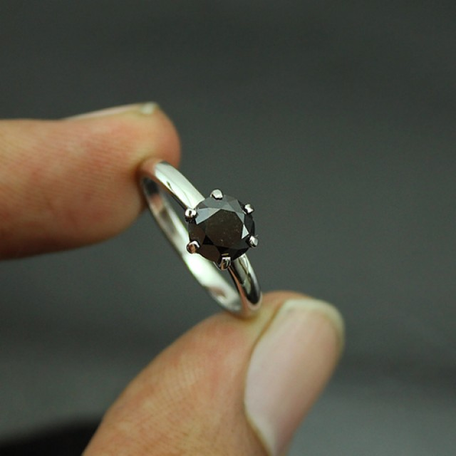 14K Gold Top quality Black Diamond Solitaire Ring