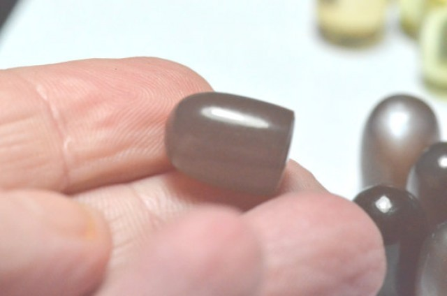 Brown Moonstone bullet gemstone cabochon smooth 14 by 10mm