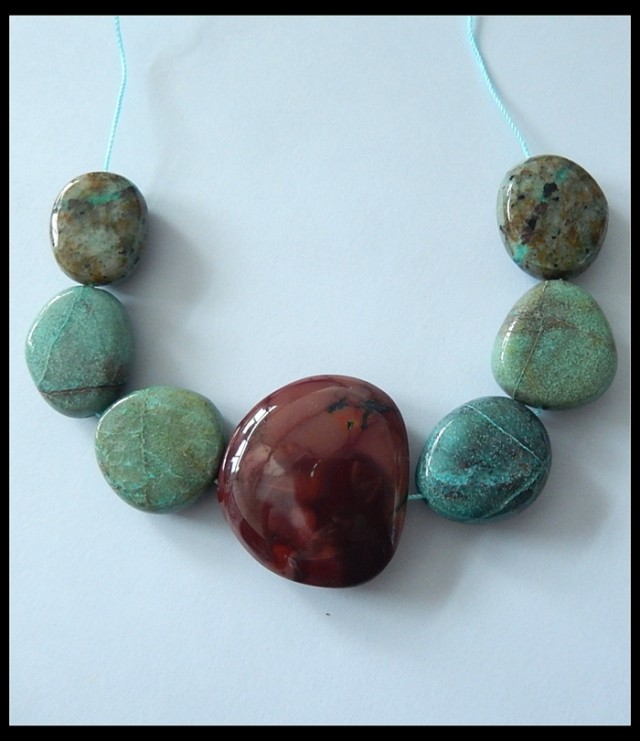 267.5Ct Natural Chrysocolla, Picasso Jasper Freeform Beads Strand
