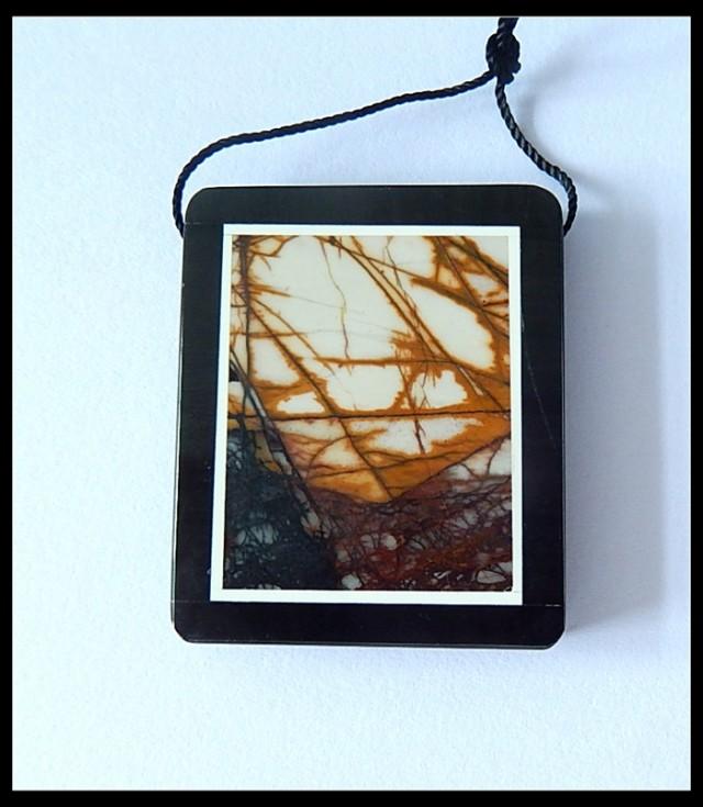83Ct Natural Multi Color Picasso Jasper,Black Jasper Intarsia Pendant Bead(