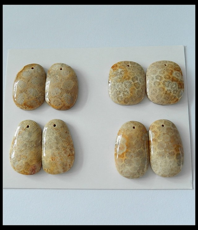 P0537 - 167.5Ct 4 Pair Natural Coral Earrings Bead Pair