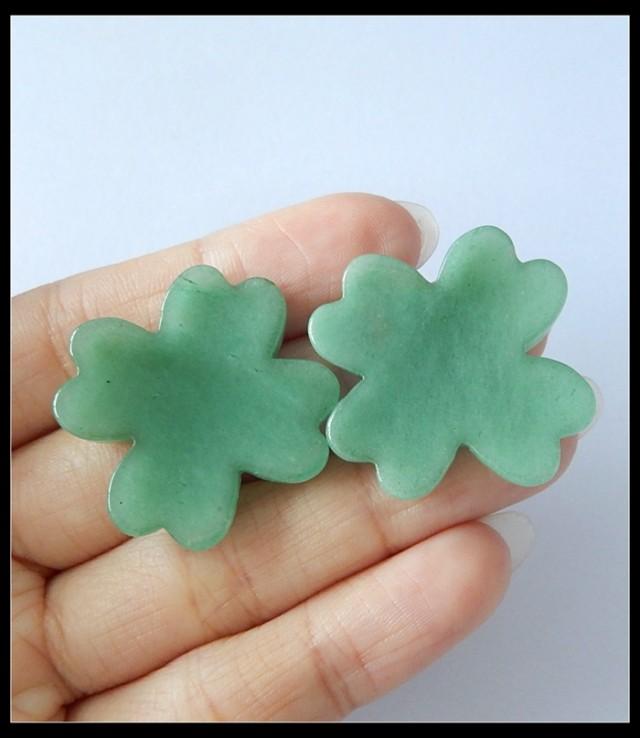 52.5Ct Natural Green Aventurine Gemstone Lucky Clover  Pair