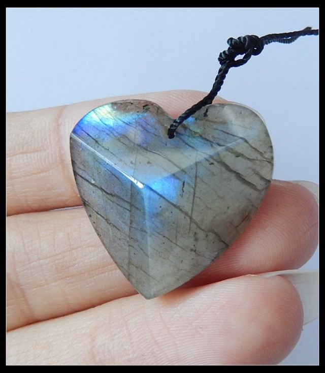 27Ct Labradorite Heart Gemstone Pendant Bead