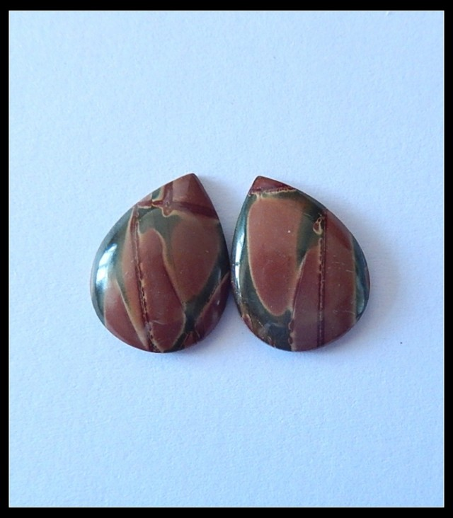 13Ct Natural Multi Color Picasso Jasper Cabochon Pair  (C0044)