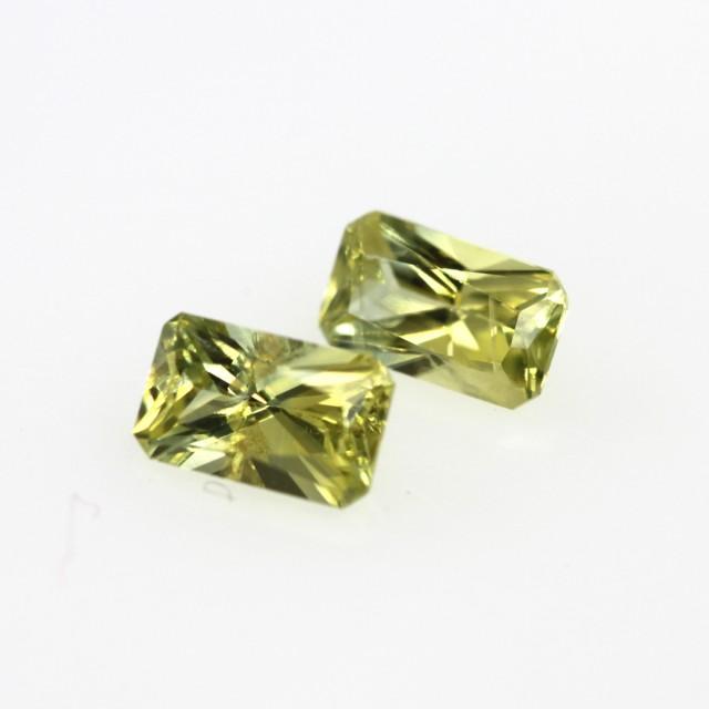 0.74cts  Matching Radiant Cut Pair Natural Yellow Sapphires 2pcs Beautiful