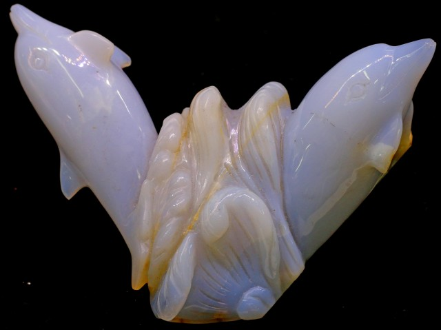 850 cts RARE HAND CARVED CHALCEDONY DOLDHINS  6 OZ  RO3297
