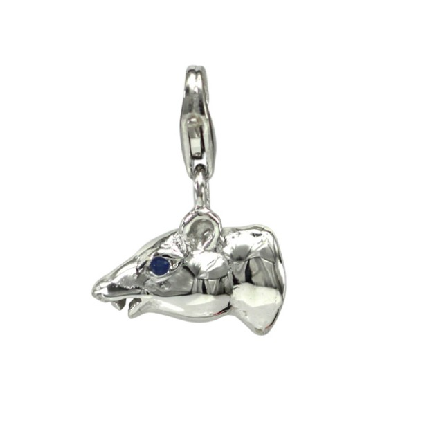 Sterling Silver Chinese Year of the Rat Zodiac Charm with Sapphire Eye