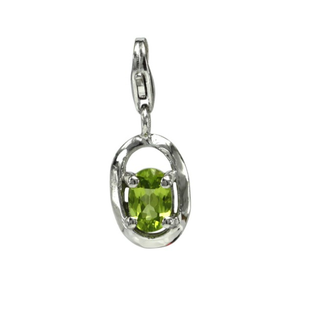 Sterling Silver Oval Shape Charm with Oval Cut Peridot