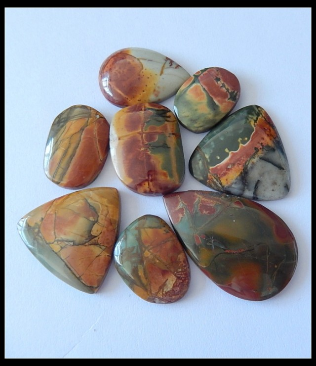 8PCS NATURAL PICASSO PAINTING LIKE JASPER GEMSTONE CABOCHONS(B1804146)
