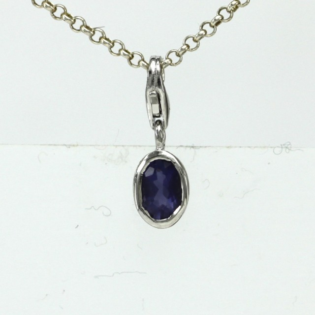 Sterling Silver Oval Shape Charm with Bezel Set Oval Cut Iolite