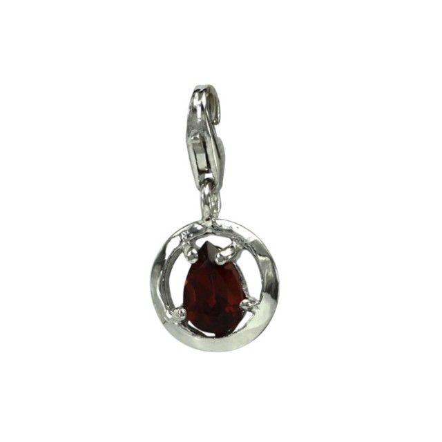 Sterling Silver Round Shape Charm with 4 Claw Set Pear Shape Garnet