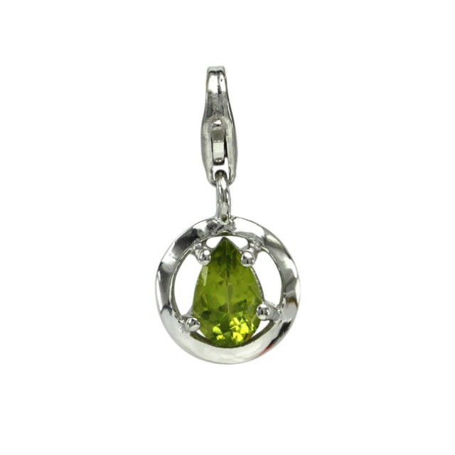 Sterling Silver Round Shape Charm with 4 Claw Set Pear Shape Peridot
