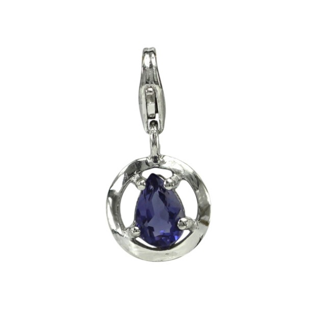 Sterling Silver Round Shape Charm with 4 Claw Set Pear Shape Iolite