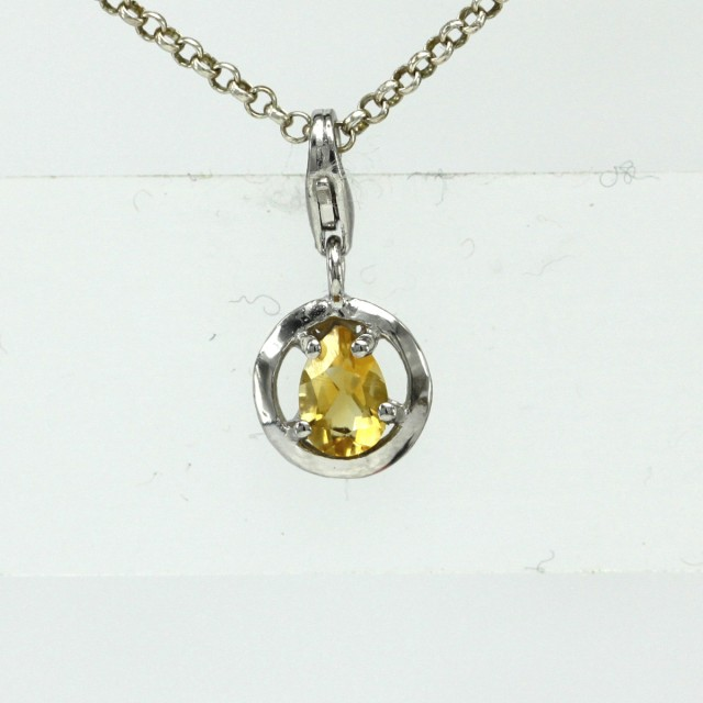 Sterling Silver Round Shape Charm with 4 Claw Set Pear Shape Citrine
