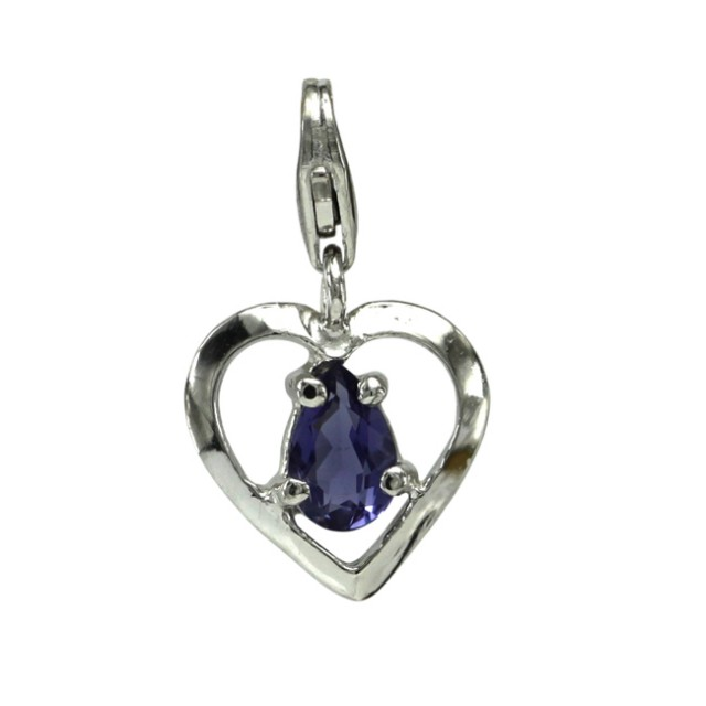 Sterling Silver Heart Shape Charm with 4 Claw Set Pear Shape Iolite