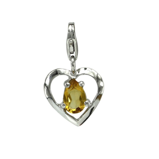 Sterling Silver Heart Shape Charm with 4 Claw Set Pear Shape Citrine