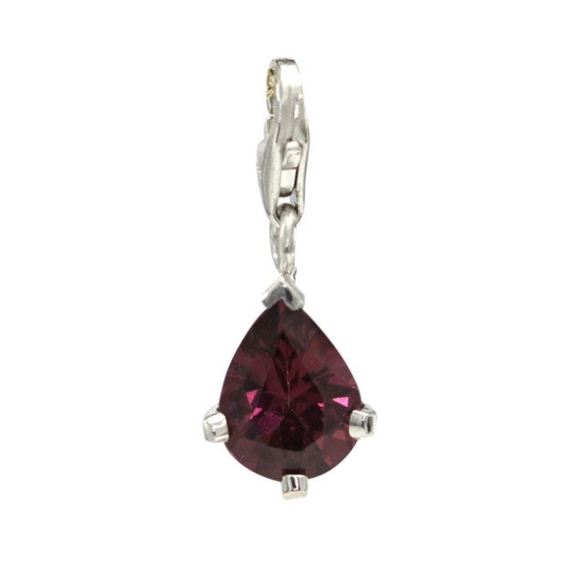 Sterling Silver Pear Shape Charm with 4 Claw Set Pear Shape Rhodolite
