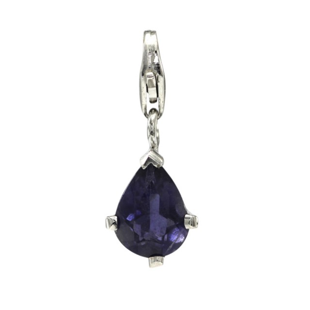 Sterling Silver Pear Shape Charm with 4 Claw Set Pear Shape Iolite
