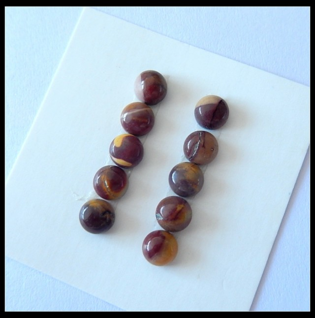 10 pcs Natural Mokaite Jasper Cabochons,5.5ct