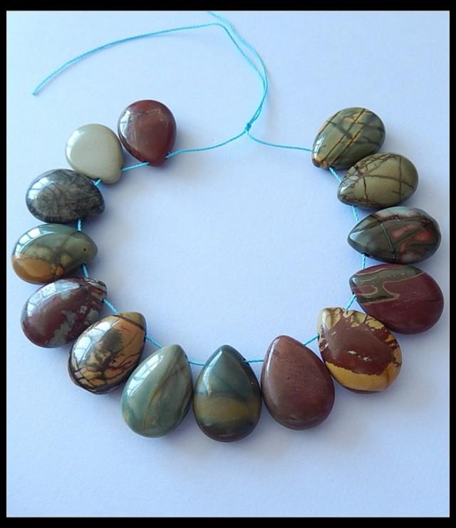 200CT Natural Multi Color Picasso Jasper Beads Strand