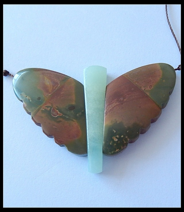 90.5Ct Natural Multi Color Picasso Jasper,Amazonite Butterfly Pendant Set