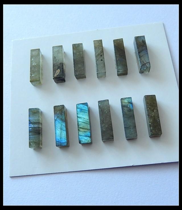 12 PCS Natural Labradorite Gemstone Cabochons Parcel,35.5ct