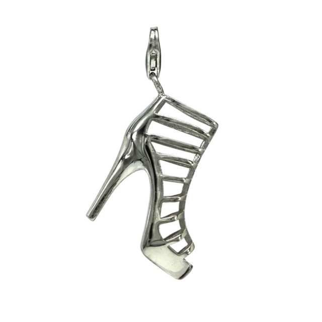 Ladies Gladiator Style Shoe with a Stiletto Heel Sterling Silver Charm