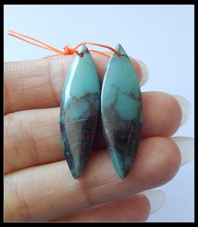 22Ct Natural Chrysocolla Earring Beads(B180465)