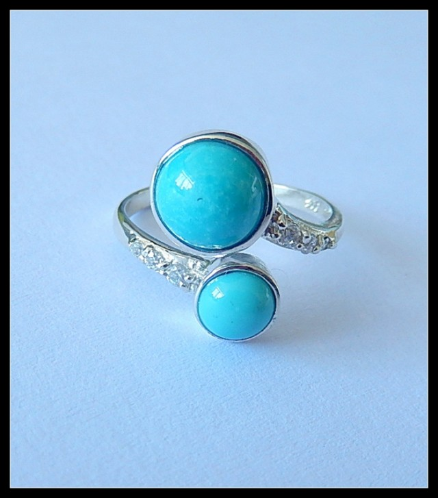 S925 Turquoise Gemstone Ring,Adjustable Ring,Silver Ring