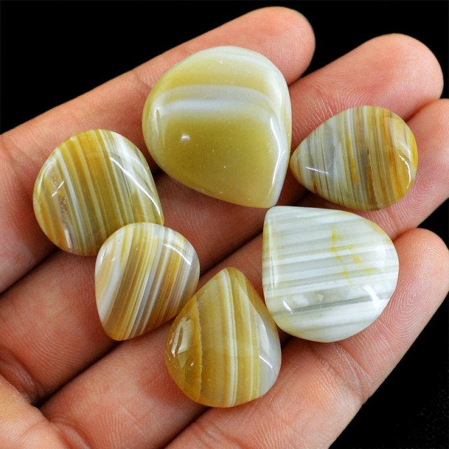 Genuine 144.95 Cts Pear Shaped Striped Agate Lot