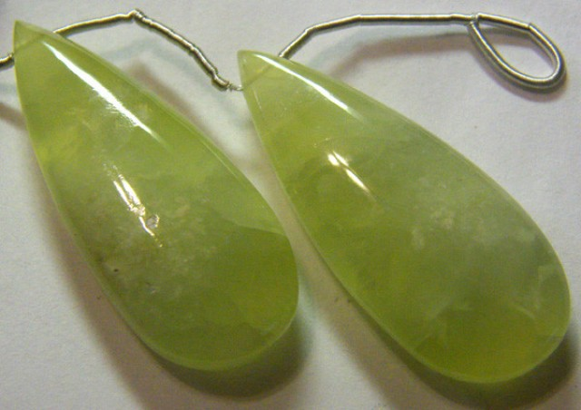 PREHNITE BEADS DRILLED PAIR 72 CTS NP-1952