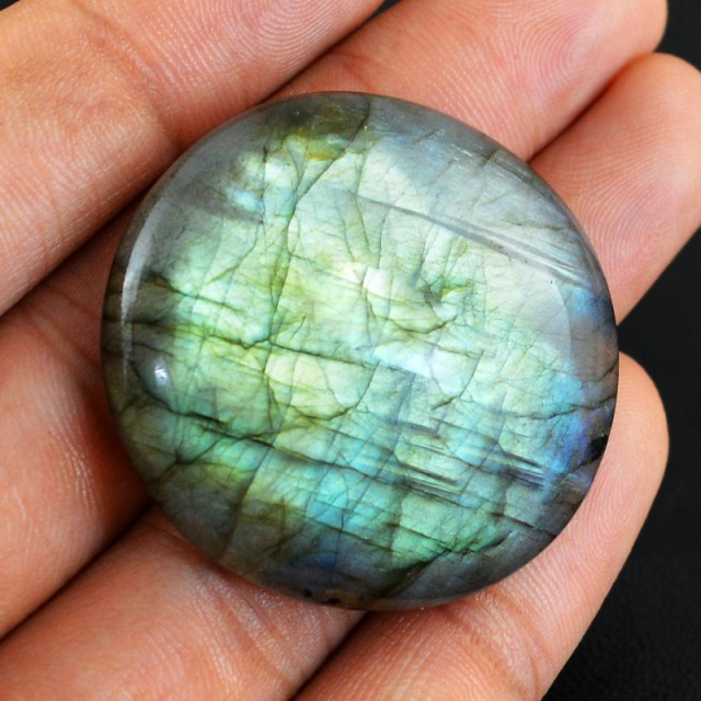 Genuine 97.50 Cts Round Shaped Labradorite Cab