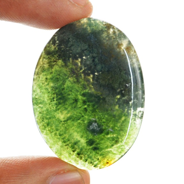 Genuine 47.60 Cts Oval Shaped Moss Agate Cab