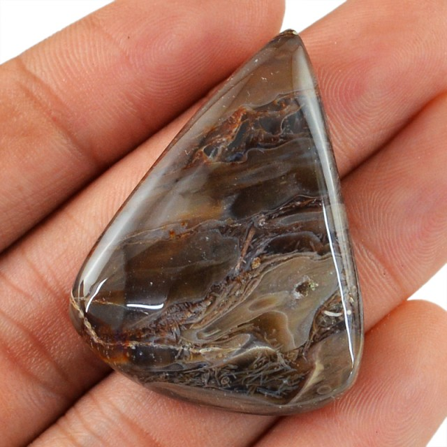 Genuine 56.45 Cts Untreated Montana Agate Cab