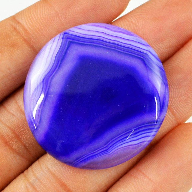 Genuine 67.75 Cts Round Shaped Blue Onyx Cab
