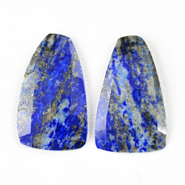 Genuine 41.00 Cts Blue Lapis Lazuli Checkered Cut Pair