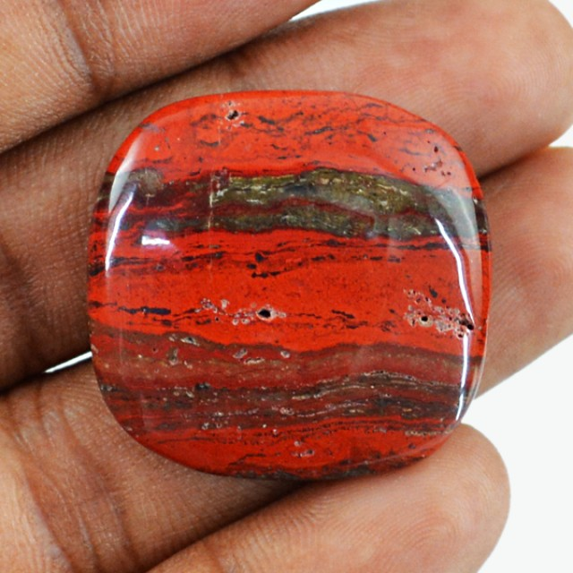 Genuine 37.45 Cts Untreated Red Jasper Cab