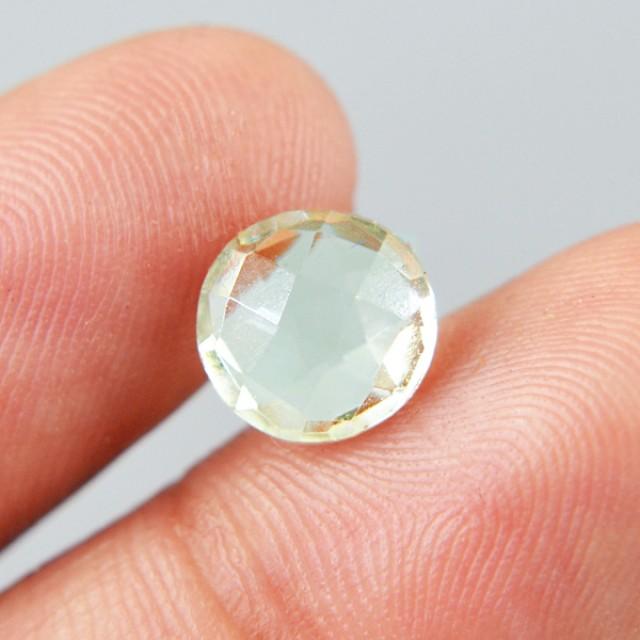 Genuine 1.90 Cts Round Faceted Prasiolite (Prasiolite) Gemstone