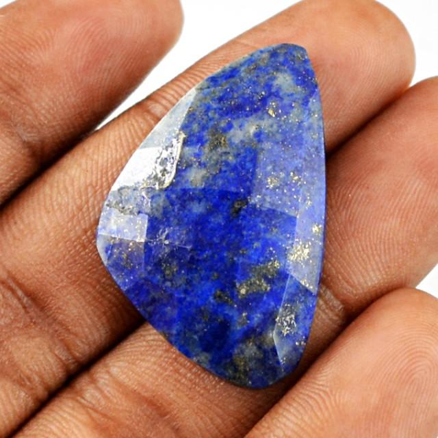 Genuine 26.60 Cts Blue Lapis Lazuli Checkered Cut Cab